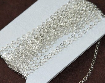 32 ft spool of Silver Plated Chain Flat Cable Chain 3x3mm
