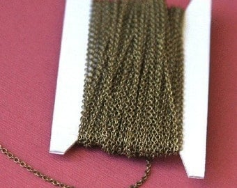 10 ft of Antiqued Brass round cable chain 1.5mm