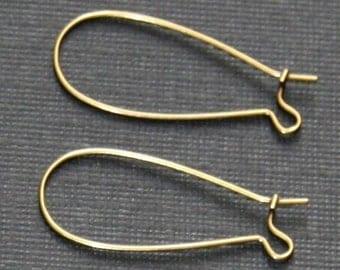 250 pcs of Antiqued brass Kidney earwire  33x14mm
