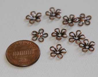 50 pcs of Antiqued copper plated brass flower beads cap 9mm