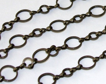 5 ft of Antiqued brass circle links chain 6mm-10mm