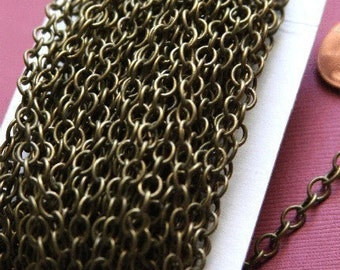 32ft spool of Antiqued Brass round cable chain 4X5mm - Soldered Links