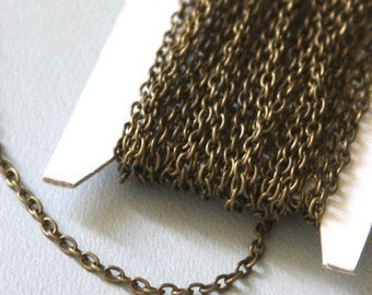 90ft of Antiqued Brass finished iron round cable chain 2.6X3.9mm - unsoldered