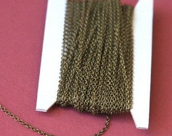 32 ft spool of Antiqued Brass round cable chain 2X2.5mm