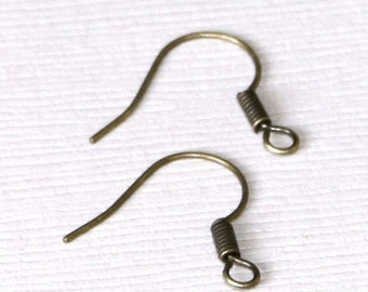 100 pcs of Antiqued brass fish Hook Earwire 17X15mm