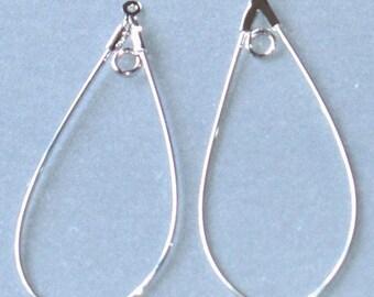 20 pcs of Silver-plated brass  teardrop hoop 40x22mm