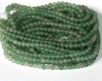 2x16 in strand of green aventurine round 4mm
