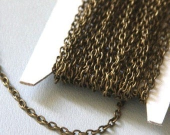15 ft of Antiqued Brass finished iron round cable chain 2.6X3.9mm - unsoldered