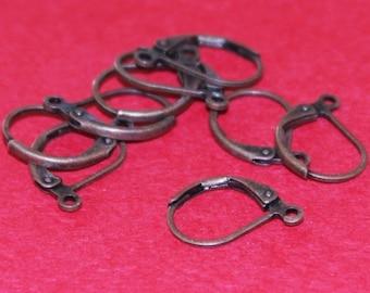 50 pcs of Antiqued copper Leverback earwire 10X15mm
