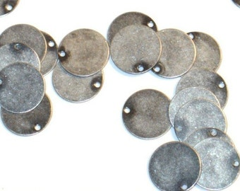 100 pcs of Antique silver plated brass coin drop 12mm