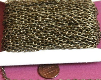 180ft of Antiqued Brass finished texture cable chain 3X5mm- unsoldered