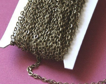 32 ft spool of Antiqued brass chain flat cable chain 3X3mm