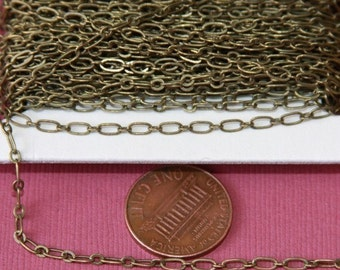 32 ft spool of Antiqued Brass Long and Short Chain 4X2mm - Soldered Links