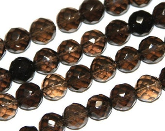 7  inch strand of Natural Smoky Quartz Faceted round 10mm