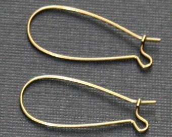 100     of Antiqued brass Kidney earwire  33x14mm