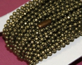 50 ft spool of high quality antiqued brass faceted ball chain 2.4mm
