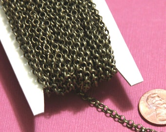 25ft of Antique brass Rollo chain 3.2mm unsolder links