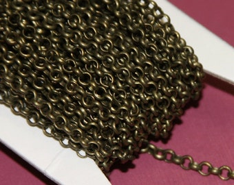 100 ft of Antique brass Rollo chain 3.2mm   unsolder links
