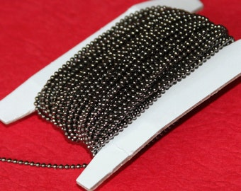 10 ft of Gunmetal chain plated 1.5mm ball chain