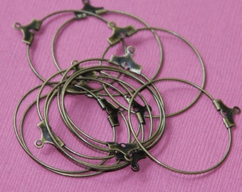 50 pcs of antique brass beading  hoops 30mm