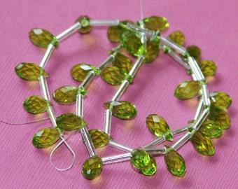 16 inch strand of Peridot  color glass  Quartz faceted thin briolette 6x12mm