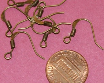 100 pcs of Antique Brass flattened fishhook with coil ear wire 21 gauge