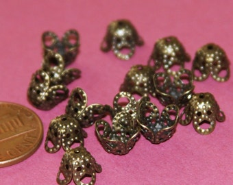 100 pcs of  Antiqued Brass filigree beads cap 9mm YDN2359
