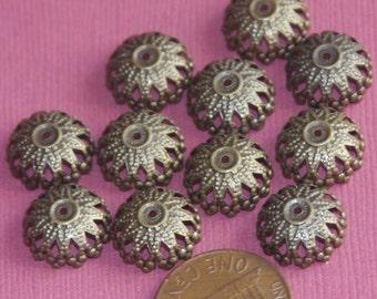 100 pcs of antique brass round filigree beadcap 12mm