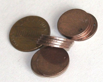 25 pcs of Antique copper coin disc 15mm 1mm thick