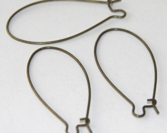 Wholesale    500 pcs of Antiqued brass Large Kidney earwire 44X20mm