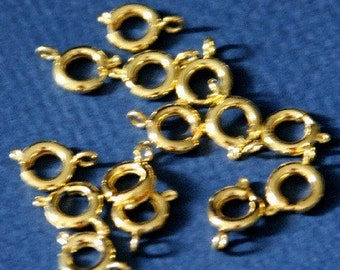50 pcs of  Gold Plated Brass Spring Ring Clasp 10X7mm