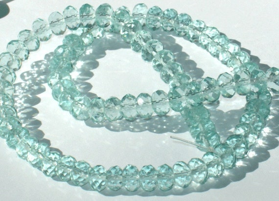 8 in Strand Aqua Glass Quartz faceted rondelle beads 5X8mm