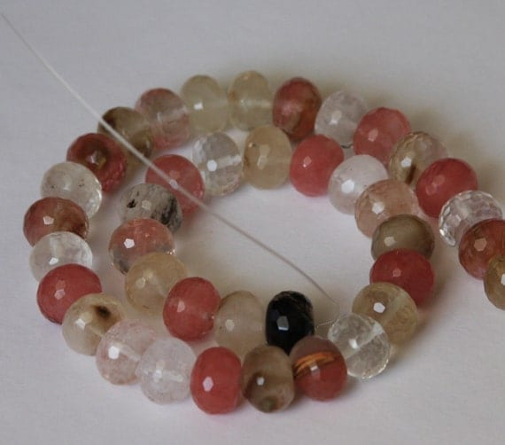 16 inch strand of fired cherry quartz faceted rondelle beads 10X14mm