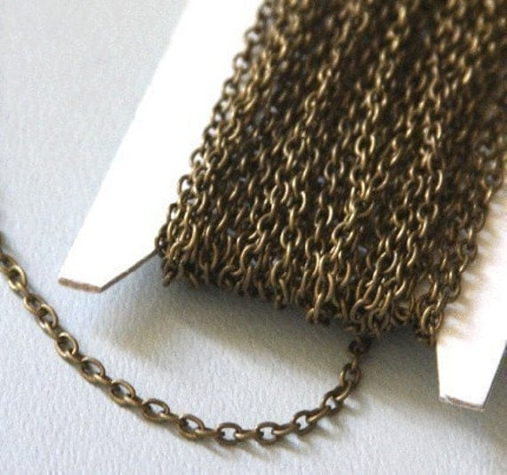 15 ft of Antiqued Brass round cable chain 2.6X3.9mm - unsoldered