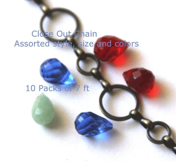 Best Deal Ever ----- Chain Sale --- 10 Packs of 7ft   --- assorted Styles - Size - colors  chain - Solder Links