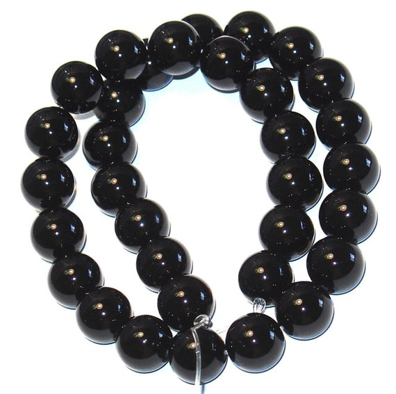 16 inch strand of Black Onyx round beads A Grade  10mm