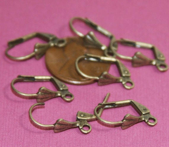 50 pcs of Antiqued brass leverback earwire with shell 9X17mm