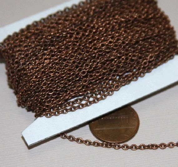 32 ft spool of Antiqued Copper plated soldered round cable chain 3x2.7mm