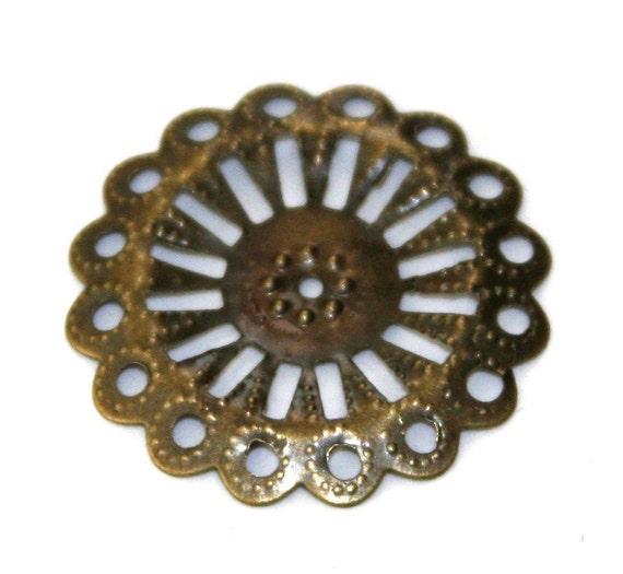 15 pcs of Antiqued brass filigree focal findings 25mm, bulk brass filigree