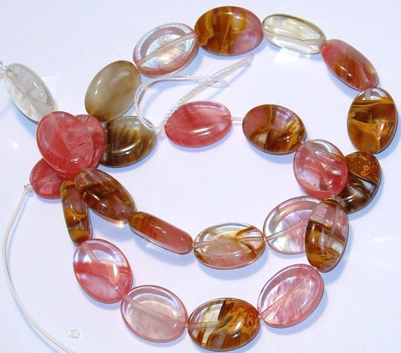 16 in strand of tiger quartz glass flat oval beads 12X16mm
