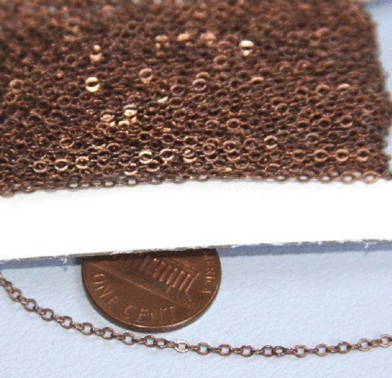 32ft spool of Antiqued Copper Tiny Flat Soldered Cable Chain 2mm