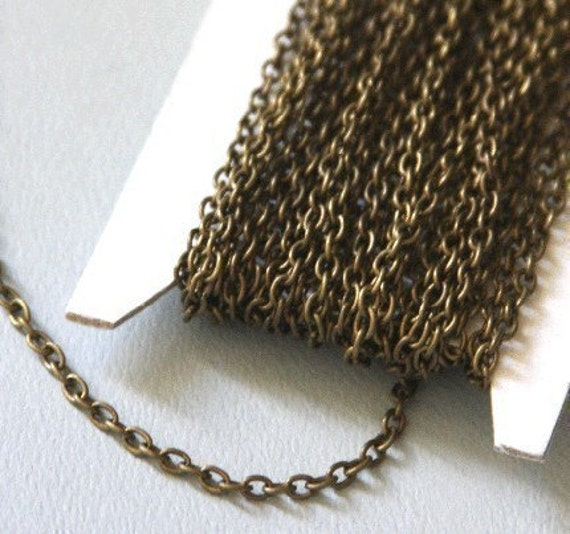 90 ft of Antiqued Brass finished iron round cable chain 2.6X3.9mm - unsoldered
