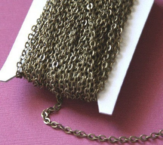 32 ft spool of antiqued brass flat cable chain 3X3mm