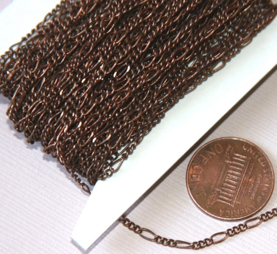 32ft spool of Antiqued copper figaro chain 2X4.5mm - Solder Links