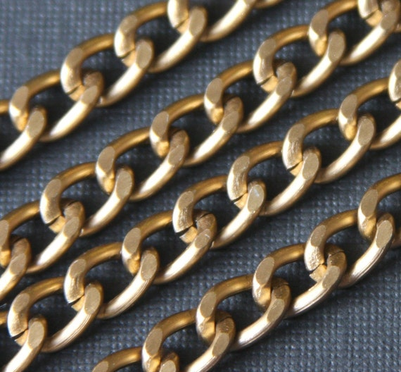 25 ft of Aluminum Curb open link chain  7X10mm - Antiqued Gold