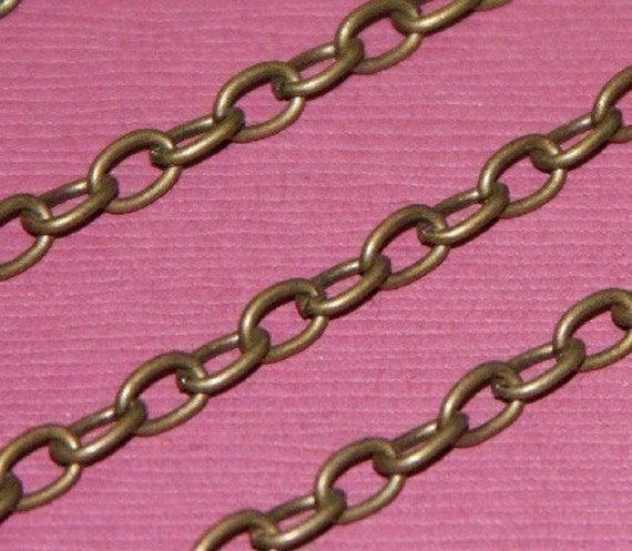 SALE ---- 15ft of Antiqued brass finished over iron large cable chain 6.5x4mm - Open Links