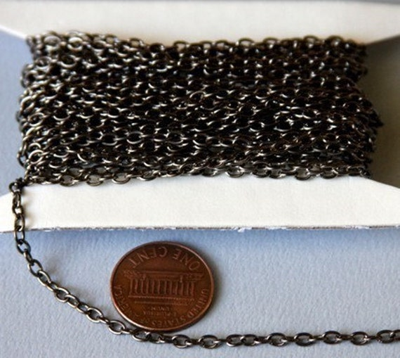 45 ft of Gunmetal round cable chain 2.6X3.9mm - unsoldered