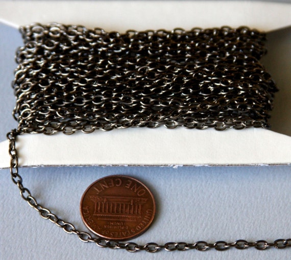 15 ft of Gunmetal round cable chain 2.6X3.9mm - unsoldered