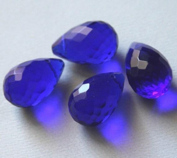 4 pcs ---- Extra Large ---- Blue Glass quartz faceted briolette beads 16X25mm