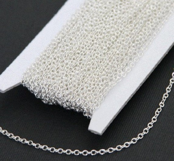 32 ft spool of Silver chain plated over Brass round cable chain 2X2.5mm